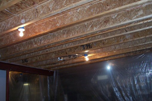 Unfinished i beam ceiling joistsHow to Paint a Basement Ceiling with Exposed Joists for an  . Unfinished Basement Ceiling. Home Design Ideas