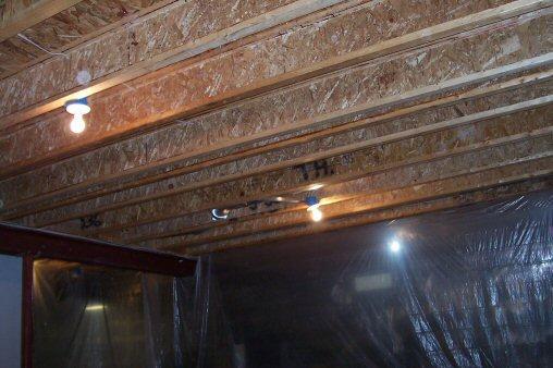 unfinished i-beam ceiling joists