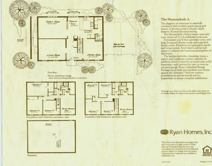 ryan colonial home brochure shenandoah layout
