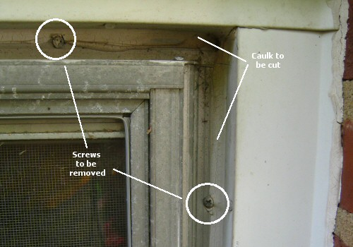 remove screws and caulk from storm windows