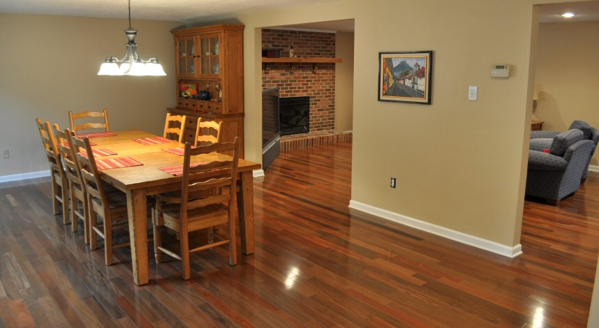 Brazilian walnut pictures one project closer for Flooring ideas for kitchen and dining room