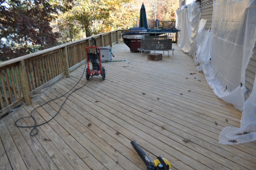 stripped yellow pine deck