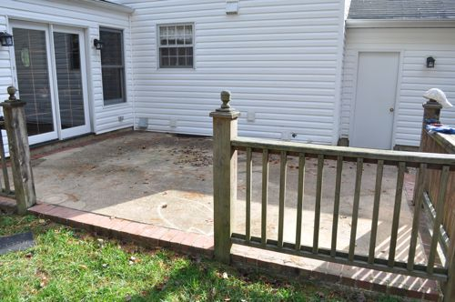 How to build a concrete patio with bluestone inlay for Concrete patio railing