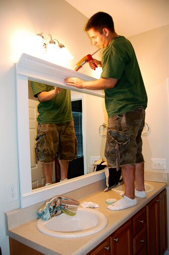 How to frame a mirror for a dramatic upscale look one - Frame bathroom mirror with moulding ...