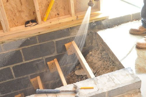 How to pour concrete stairs one project closer for Pouring concrete walls