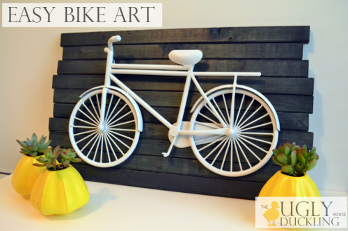 easy DIY blue and white bike art