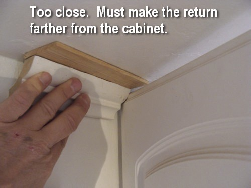 How to design and install an improvised kitchen crown for Kitchen cabinets crown molding installation instructions