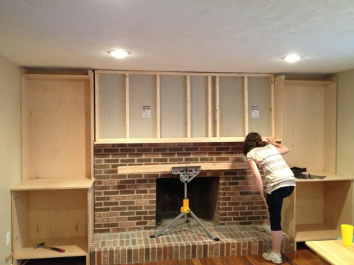 built ins and fireplace makeover one project closer. Black Bedroom Furniture Sets. Home Design Ideas