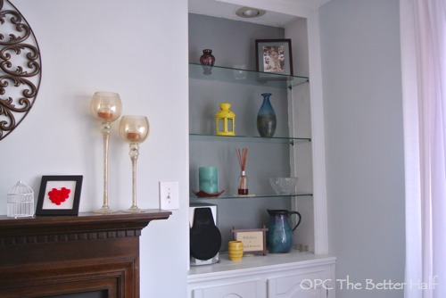 Gray Painted Built-In Shelves - OPC The Better HalfPainted