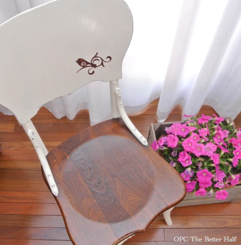 Bird Stencil on Chalk Paint Chair Makeover - OPC The Better Half