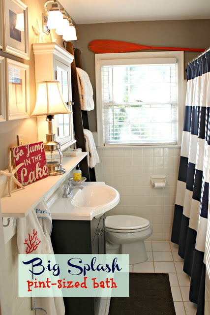 Nautical bathroom west elm shower curtain, ladder oar navy kids bathroom