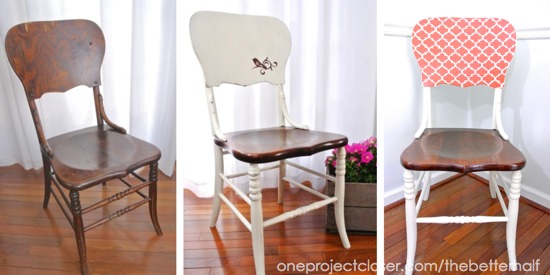 SIDE BY SIDE CHAIRS Dining Room Chairs Makeover with Annie Sloan Chalk Paint - One Project Closer