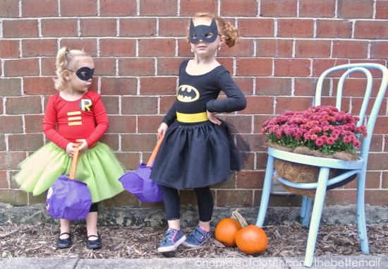 DIY Batgirl and Robin girl costumes - One Project Closer