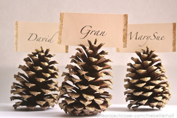 Glitter Pine Cone PLace Card Holders from One Project Closer
