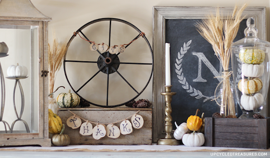 rustic-thanksgiving-vignette-monogram-letter-upcycledtreasures