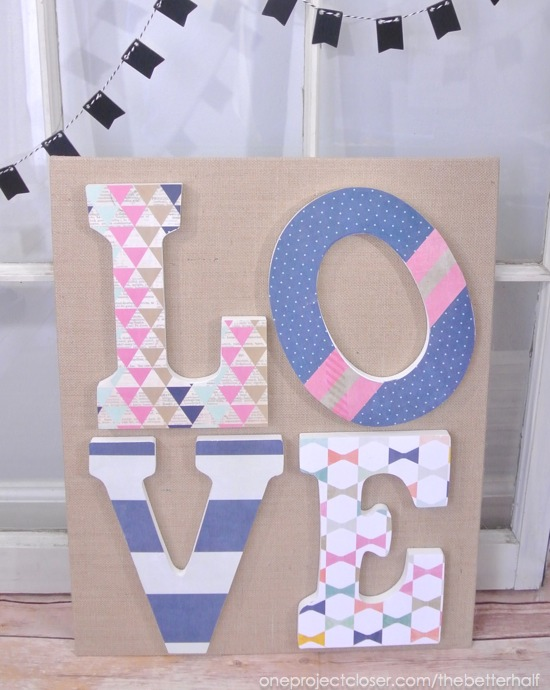 LOVE Burlap Canvas from One Project Closer