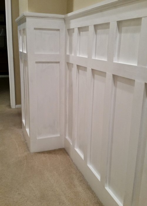 How to install board and batten wainscoting white painted square over