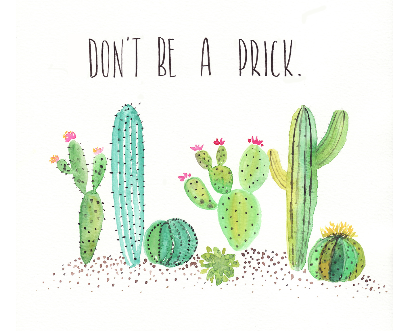 Free watercolor cactus printable one project closer - Plants you cant kill dont give up ...