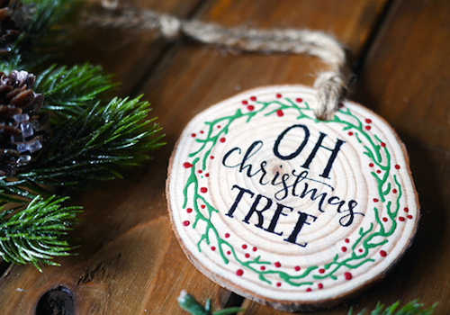 Diy Scented Wood Slice Ornaments With Printable Stencils