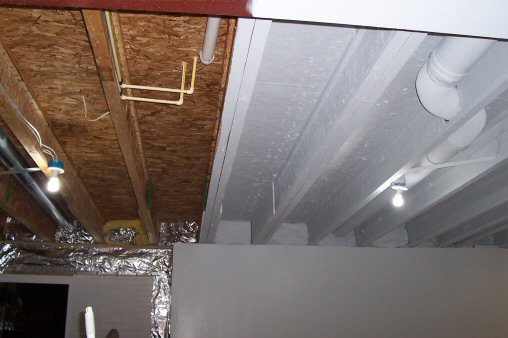 finished basement ceiling. painted basement ceiling How to Paint a Basement Ceiling with Exposed Joists for an