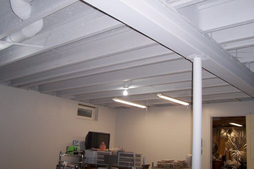 How to paint a basement ceiling with exposed joists for an for Happy color spray paint price