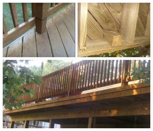 deck railing post on outside of rim joist