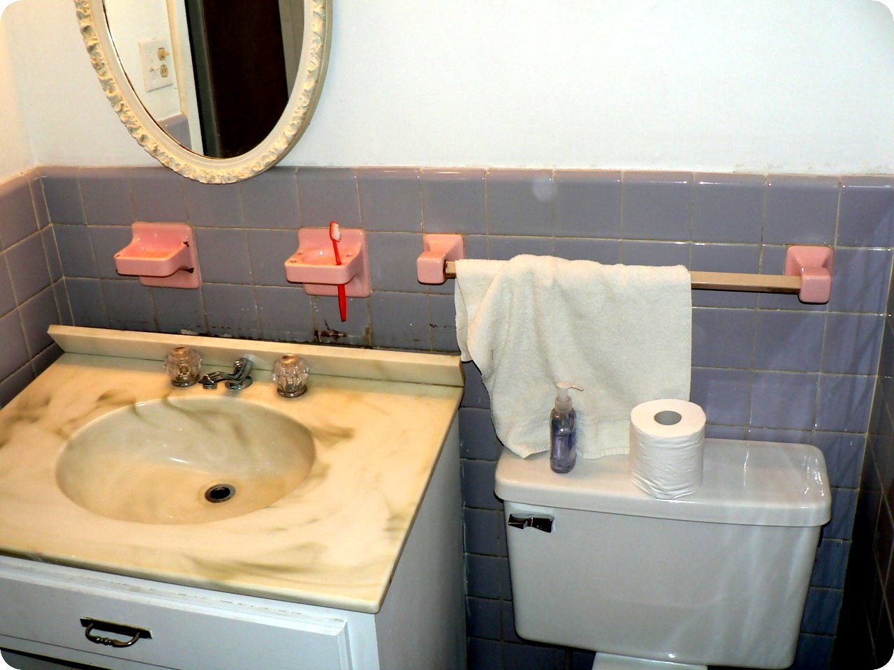 old bathroom sink and toilet