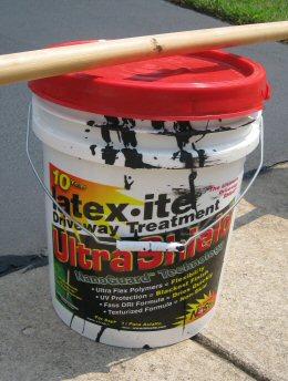 driveway sealer and tools