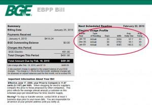 Energy Bill Showing Energy Savings