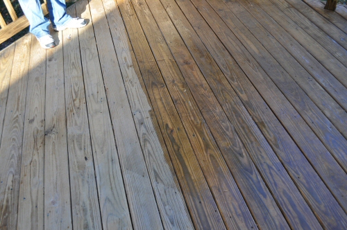 X-100 Deck Stain During Application on Southern Yellow Pine Boards