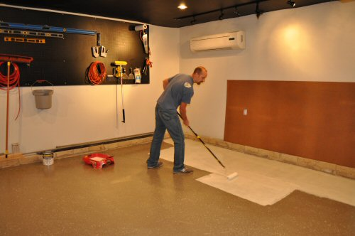 How to paint an epoxy concrete floor coating quikrete example one project closer - Painting basement floor painting finishing and covering ...