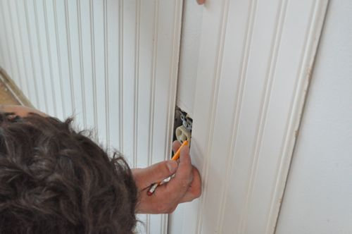 tile around outlets, baseboard around outlets, insulation around outlets, drywall around outlets, trim around outlets, stone around outlets, molding around outlets, on wainscoting around outlets