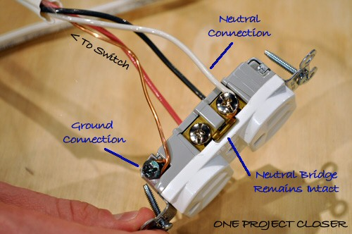 outlet with markup one video how to wire a half switched outlet one project closer 110 outlet wiring diagram at gsmx.co
