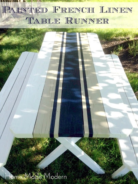Picnic Table with Painted French linen runner