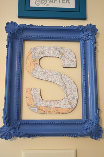 Map letter in gallery wall - One Project Closer