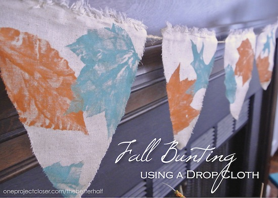 Fall Bunting using a drop cloth and multi surface paint - One Project Closer