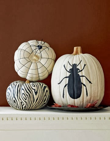 white painted pumpkins
