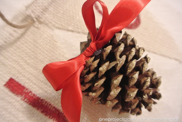 Pine Cone with Ribbon