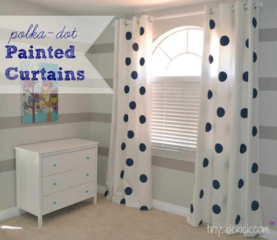 polka+dot+painted+curtain