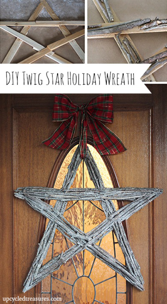 diy twig star holiday wreath from upcycledtreasures and OPC