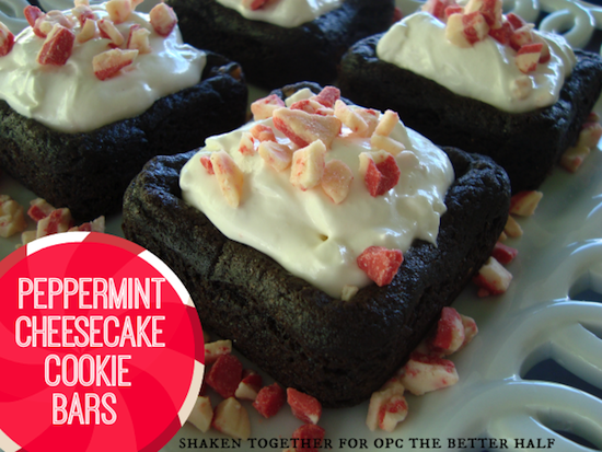 Holiday Desserts: peppermint cheesecake cookie bars from One Project Closer
