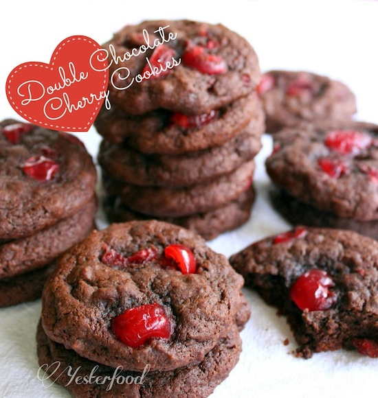 Double Chocolate Cherry Cookies by Yesterfood