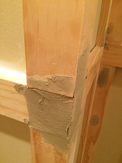 6 - wood putty on board and batten