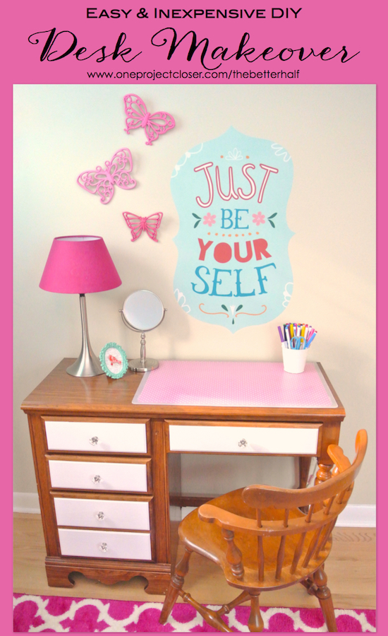 Cute Desk makeover diy one project closer