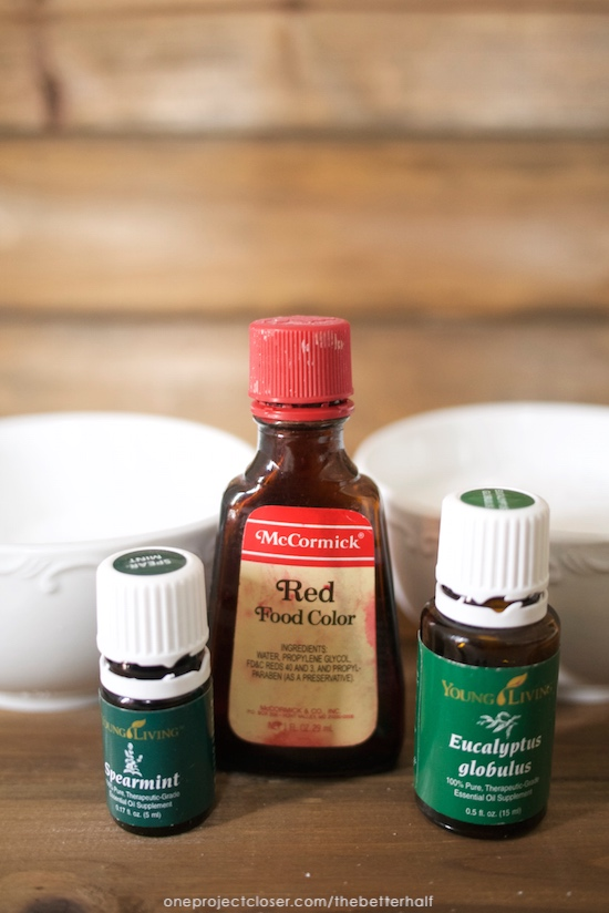 Homemade Holiday Candy Cane Bath Salts with Essential Oils from One Project Closer