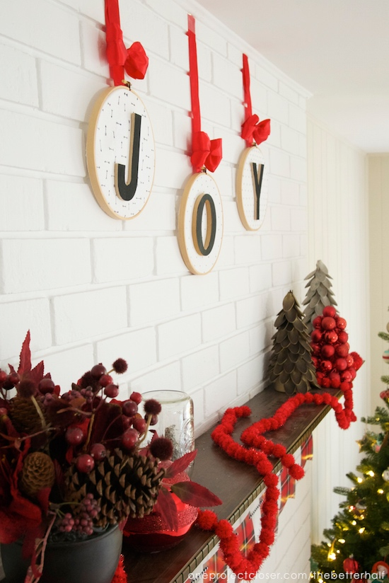 christmas-mantel-JOY-embroidery hoop-ornaments-One-project-closer