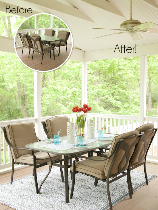 Before and After Porch Makeover from One project Closer
