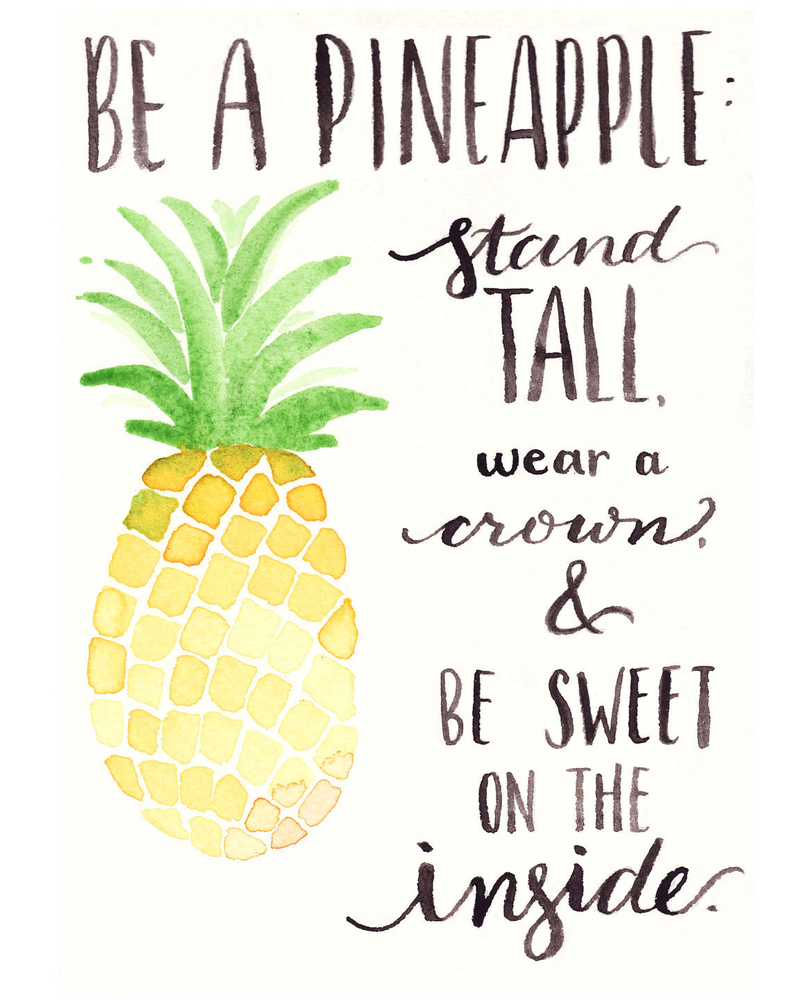 photograph relating to Printable Pineapple referred to as Cost-free Watercolor Printable: Be A Pineapple - A person Venture Nearer