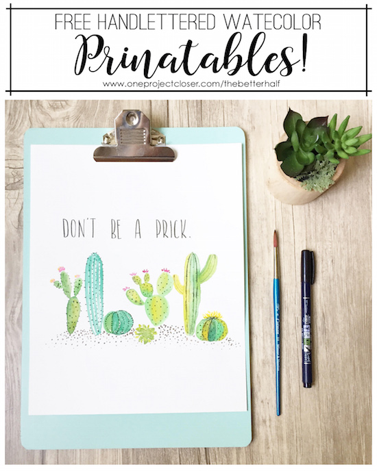 photo about Cactus Printable known as No cost Watercolor Cactus Printable - Just one Venture Nearer