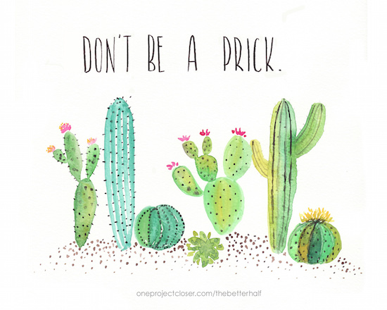 Free Watercolor Cactus Printable from One Project Closer